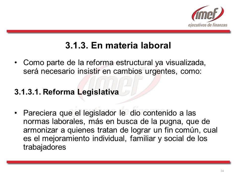 3.1.3. En materia laboral Como parte de la reforma estructural ya visualizada, será necesario insistir en cambios urgentes, como: