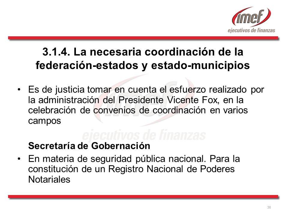 3.1.4. La necesaria coordinación de la federación-estados y estado-municipios