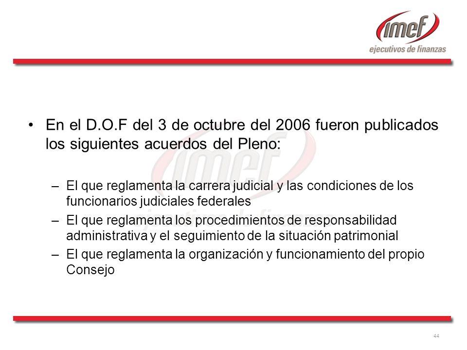 En el D.O.F del 3 de octubre del 2006 fueron publicados los siguientes acuerdos del Pleno: