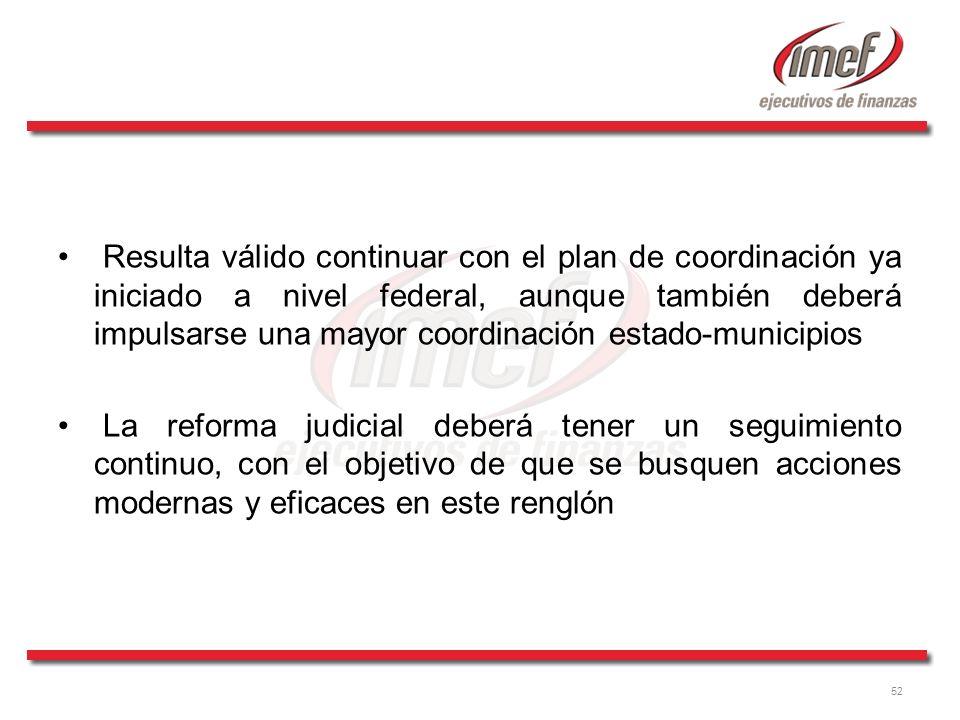 Resulta válido continuar con el plan de coordinación ya iniciado a nivel federal, aunque también deberá impulsarse una mayor coordinación estado-municipios