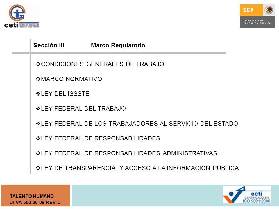 Sección III Marco Regulatorio