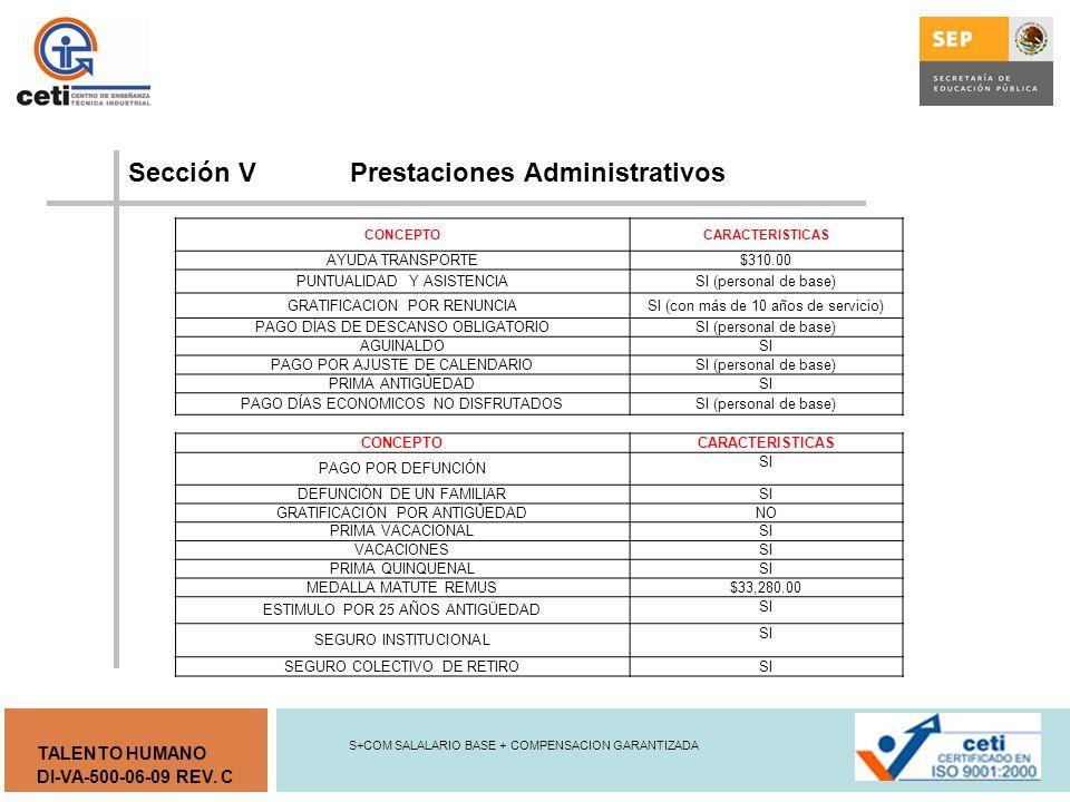 Sección V Prestaciones Administrativos