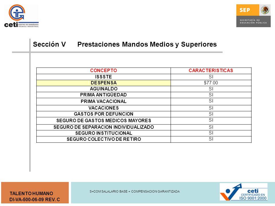 Sección V Prestaciones Mandos Medios y Superiores