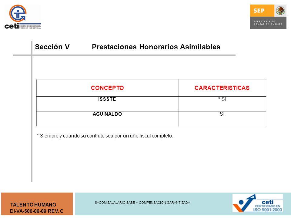 Sección V Prestaciones Honorarios Asimilables