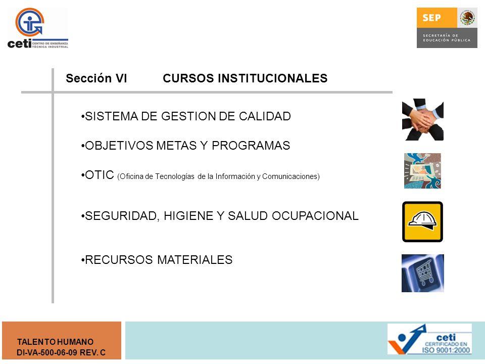 Sección VI CURSOS INSTITUCIONALES