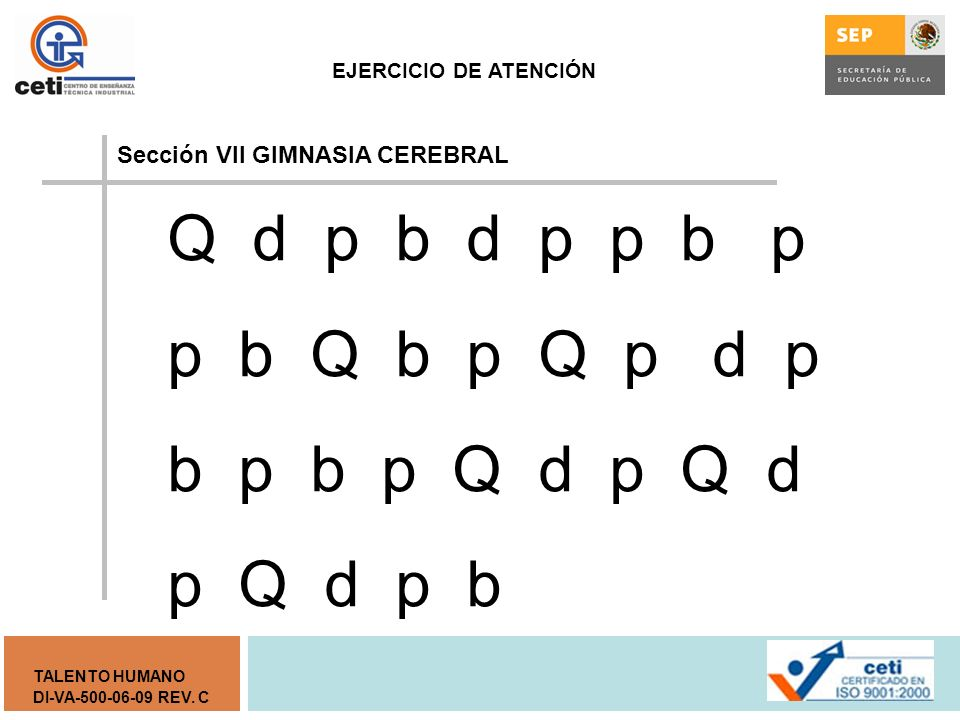 Sección VII GIMNASIA CEREBRAL