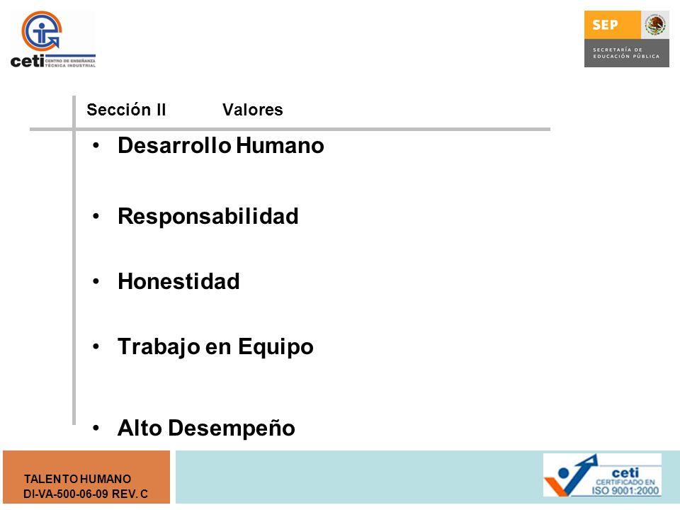 Desarrollo Humano Responsabilidad Honestidad Trabajo en Equipo