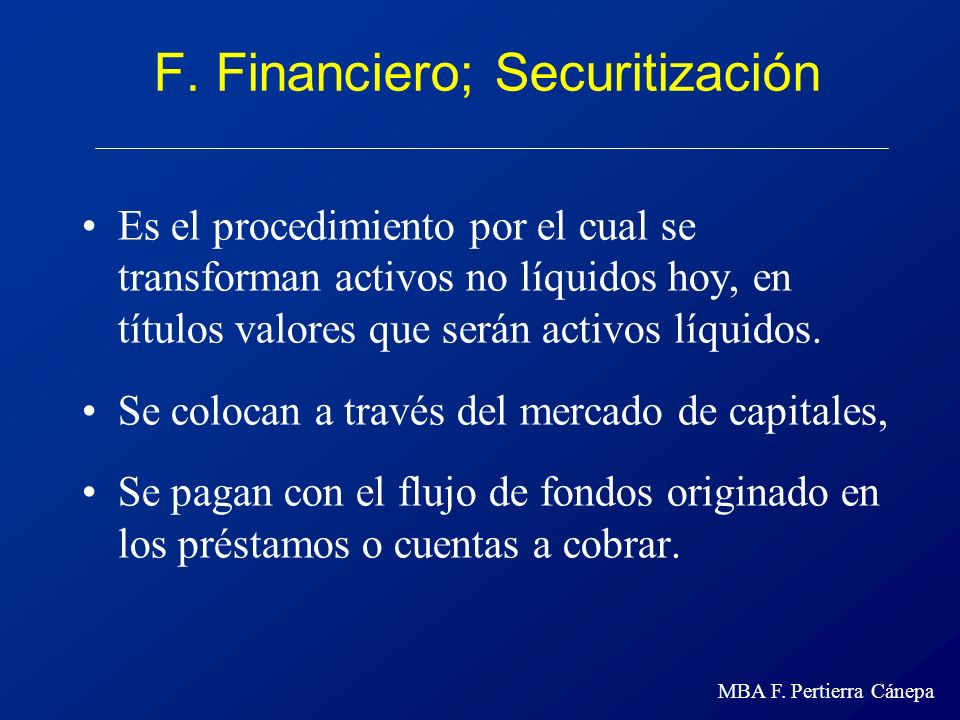 F. Financiero; Securitización