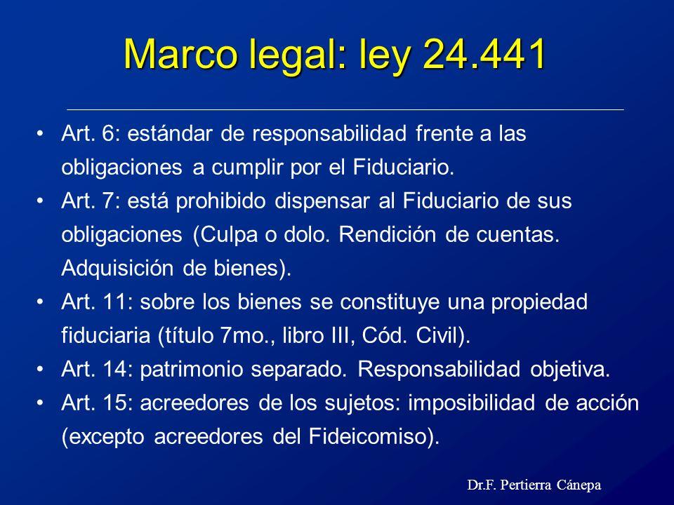 Marco legal: ley 24.441 Art. 6: estándar de responsabilidad frente a las obligaciones a cumplir por el Fiduciario.