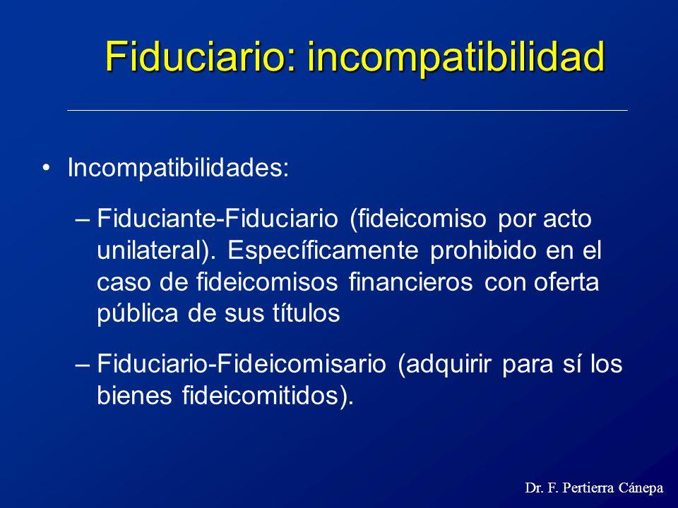 Fiduciario: incompatibilidad