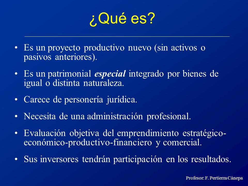 ¿Qué es Es un proyecto productivo nuevo (sin activos o pasivos anteriores).