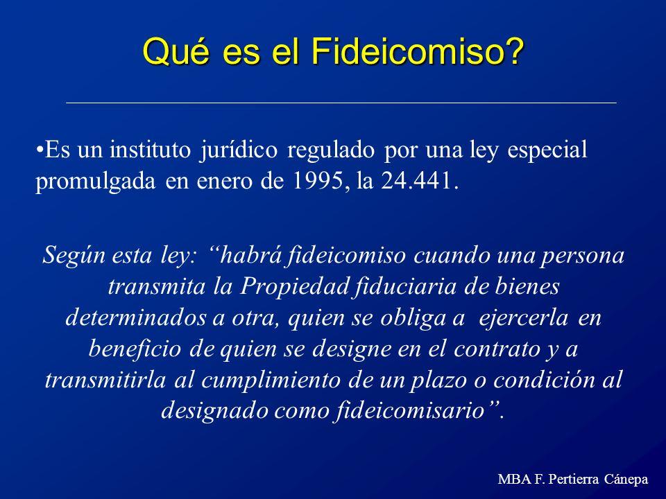 Qué es el Fideicomiso Es un instituto jurídico regulado por una ley especial promulgada en enero de 1995, la 24.441.