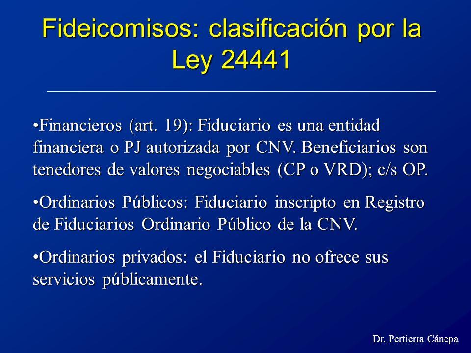 Fideicomisos: clasificación por la Ley 24441