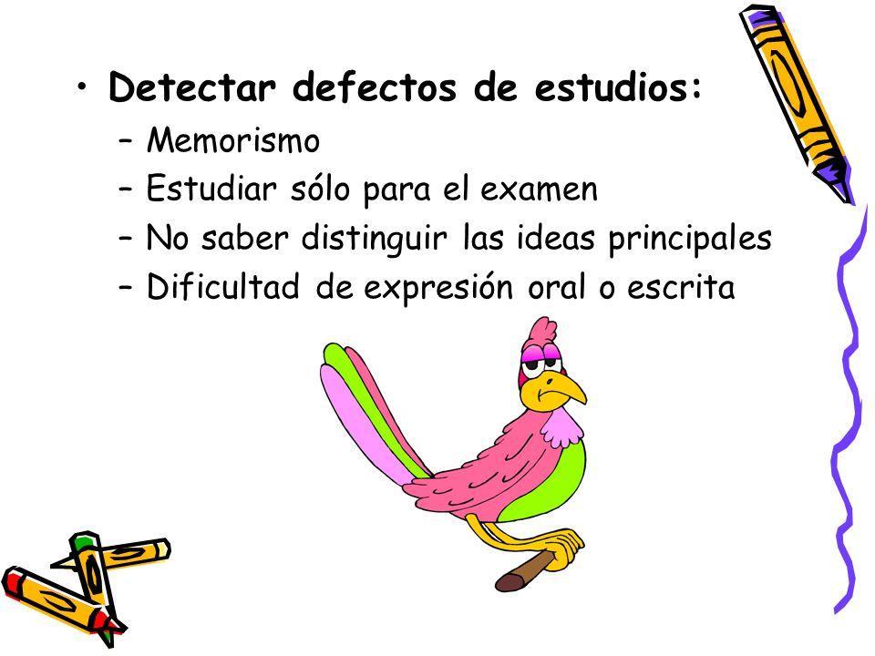 Detectar defectos de estudios: