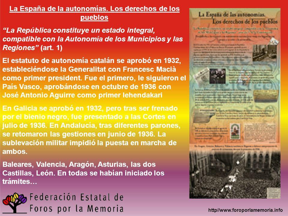La España de la autonomías. Los derechos de los pueblos