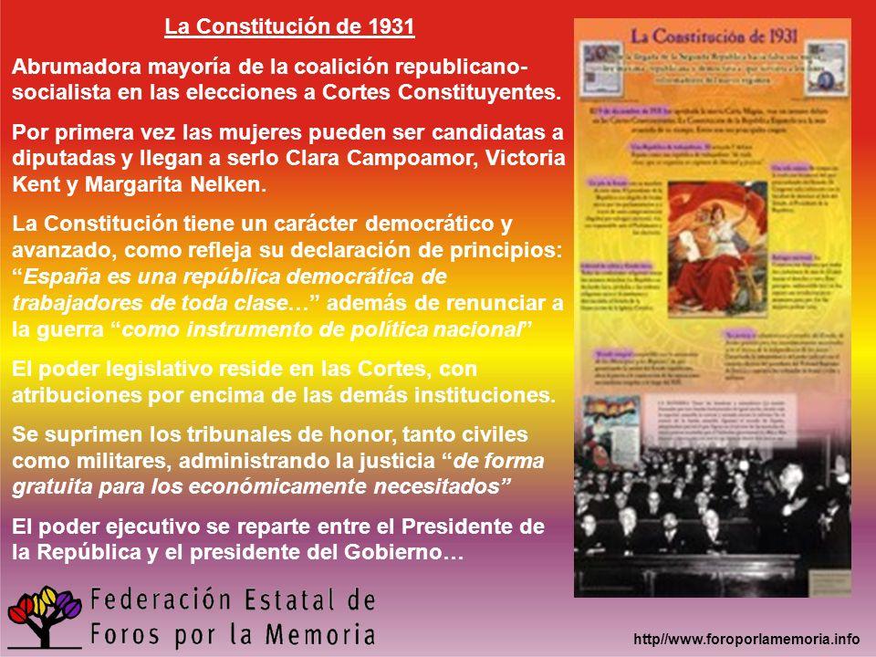 La Constitución de 1931 Abrumadora mayoría de la coalición republicano-socialista en las elecciones a Cortes Constituyentes.