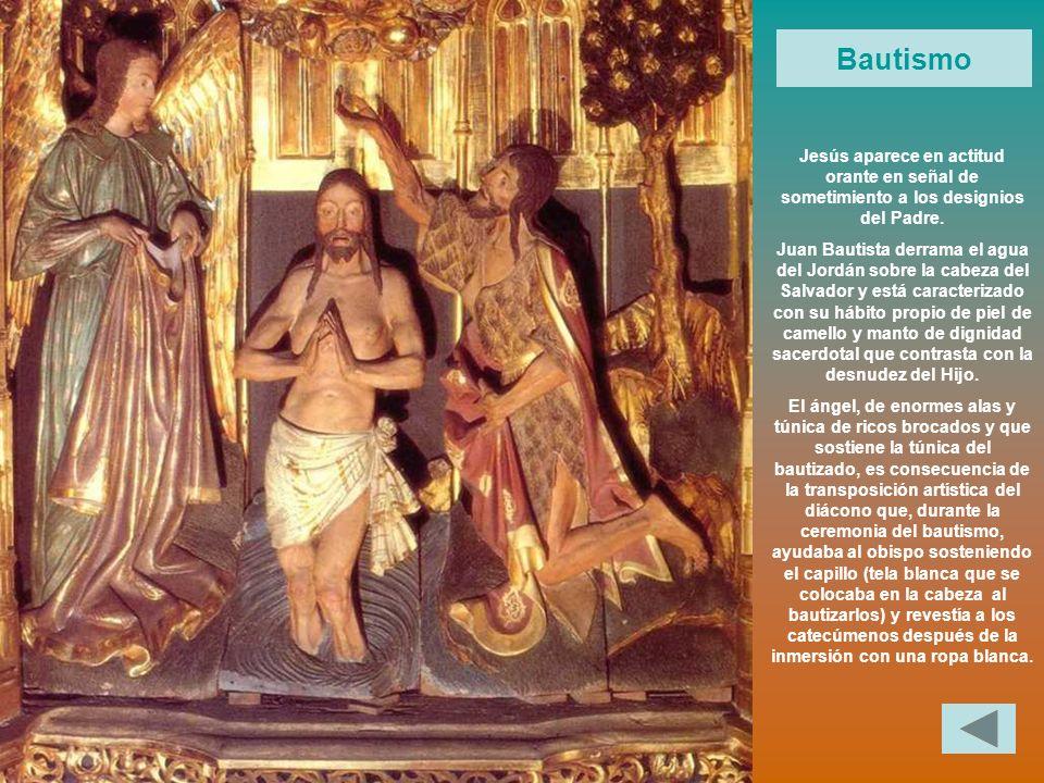 Bautismo Jesús aparece en actitud orante en señal de sometimiento a los designios del Padre.