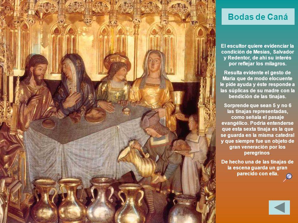 Bodas de Caná El escultor quiere evidenciar la condición de Mesías, Salvador y Redentor, de ahí su interés por reflejar los milagros.