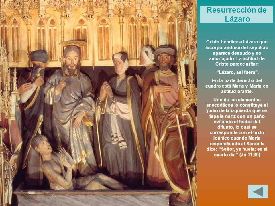 En la parte derecha del cuadro está María y Marta en actitud orante.