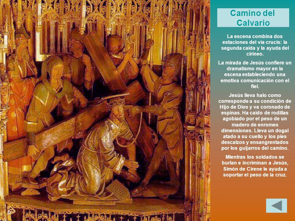 Camino del Calvario. La escena combina dos estaciones del vía crucis: la segunda caída y la ayuda del cirineo.