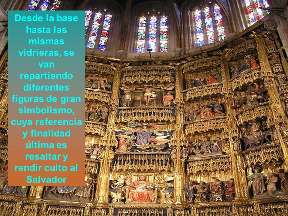 Desde la base hasta las mismas vidrieras, se van repartiendo diferentes figuras de gran simbolismo, cuya referencia y finalidad última es resaltar y rendir culto al Salvador