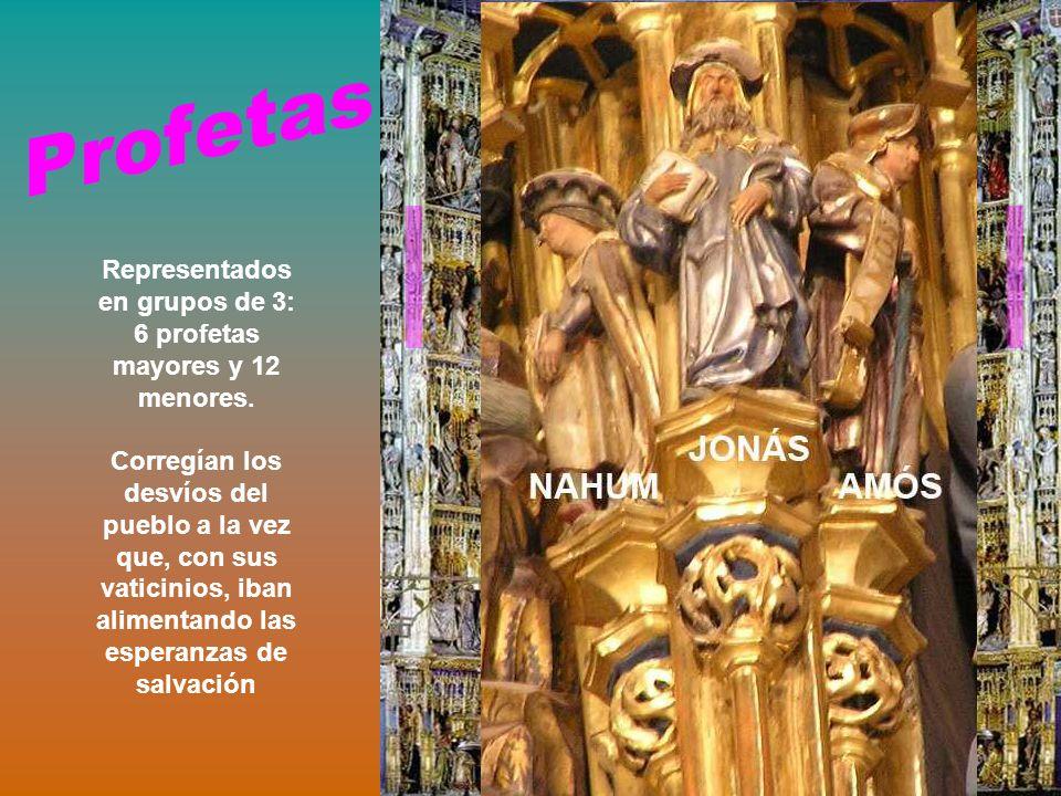 Representados en grupos de 3: 6 profetas mayores y 12 menores.