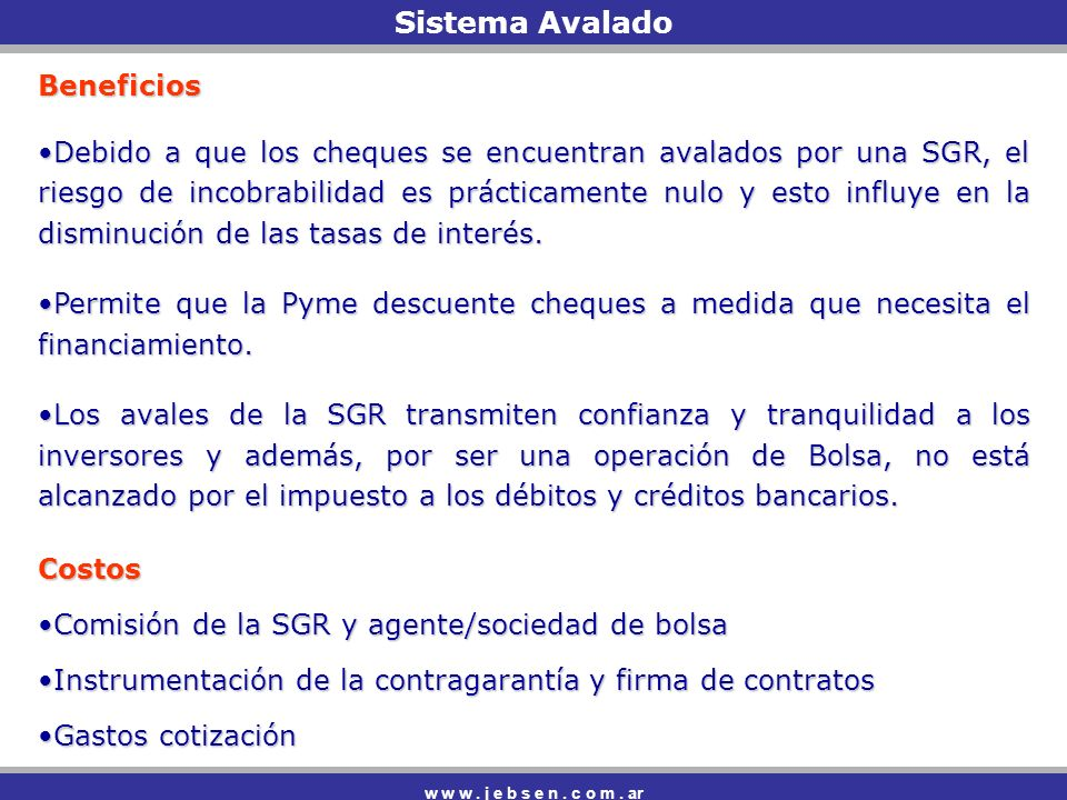 Sistema Avalado Beneficios