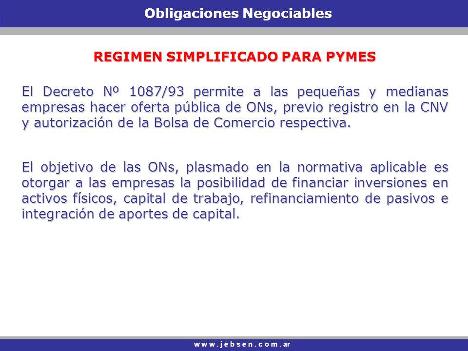 Obligaciones Negociables REGIMEN SIMPLIFICADO PARA PYMES