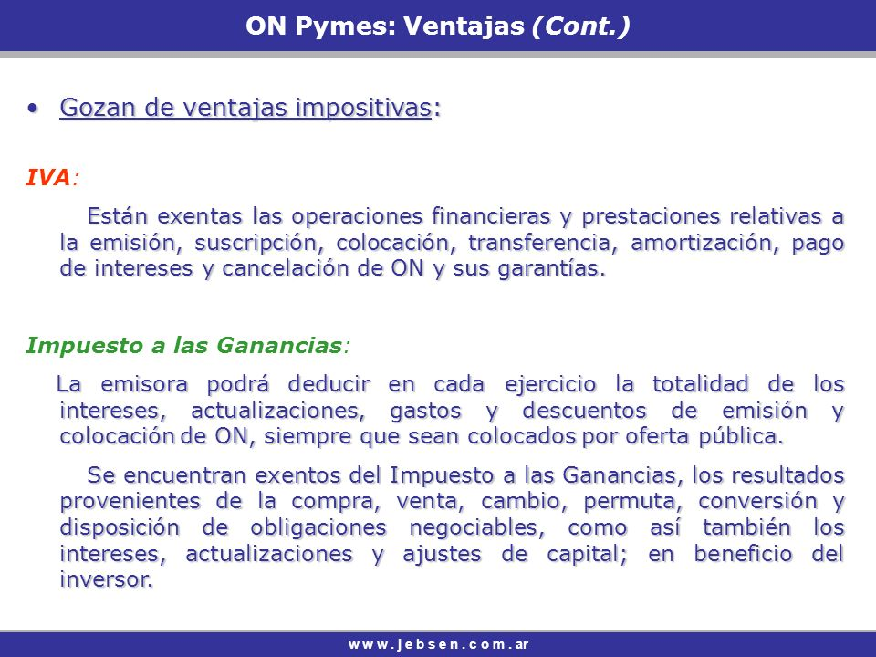 ON Pymes: Ventajas (Cont.)