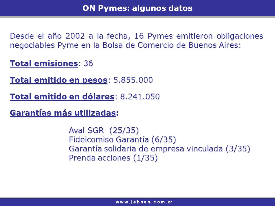 ON Pymes: algunos datos