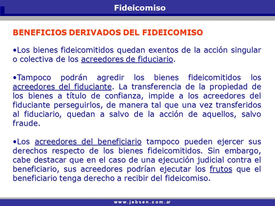 BENEFICIOS DERIVADOS DEL FIDEICOMISO