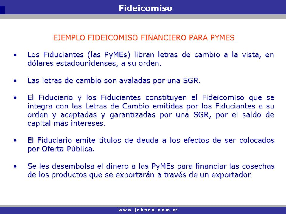 EJEMPLO FIDEICOMISO FINANCIERO PARA PYMES