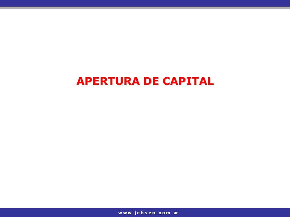 APERTURA DE CAPITAL w w w . j e b s e n . c o m . ar
