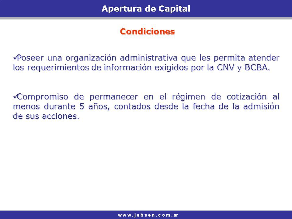 Apertura de Capital Condiciones