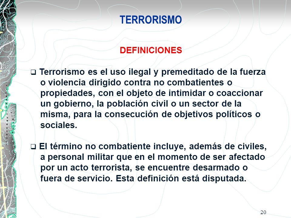 TERRORISMO DEFINICIONES