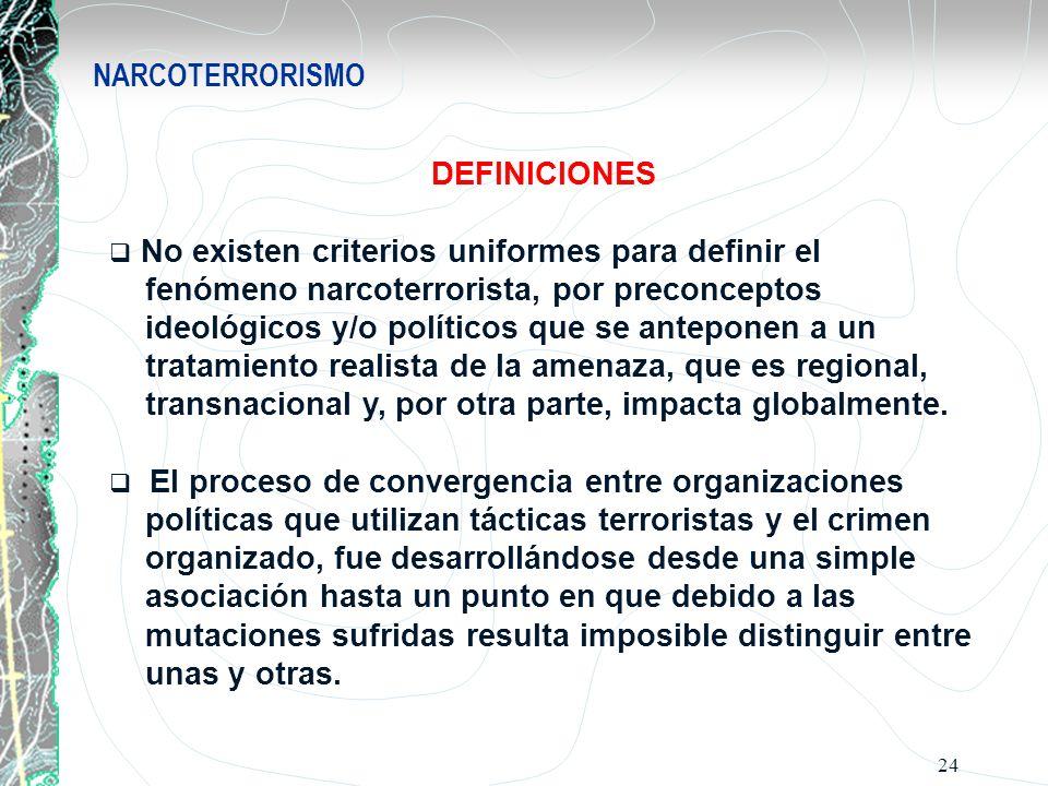 NARCOTERRORISMO DEFINICIONES. No existen criterios uniformes para definir el. fenómeno narcoterrorista, por preconceptos.