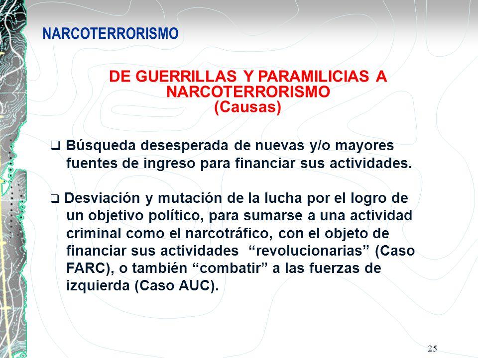 DE GUERRILLAS Y PARAMILICIAS A NARCOTERRORISMO (Causas)
