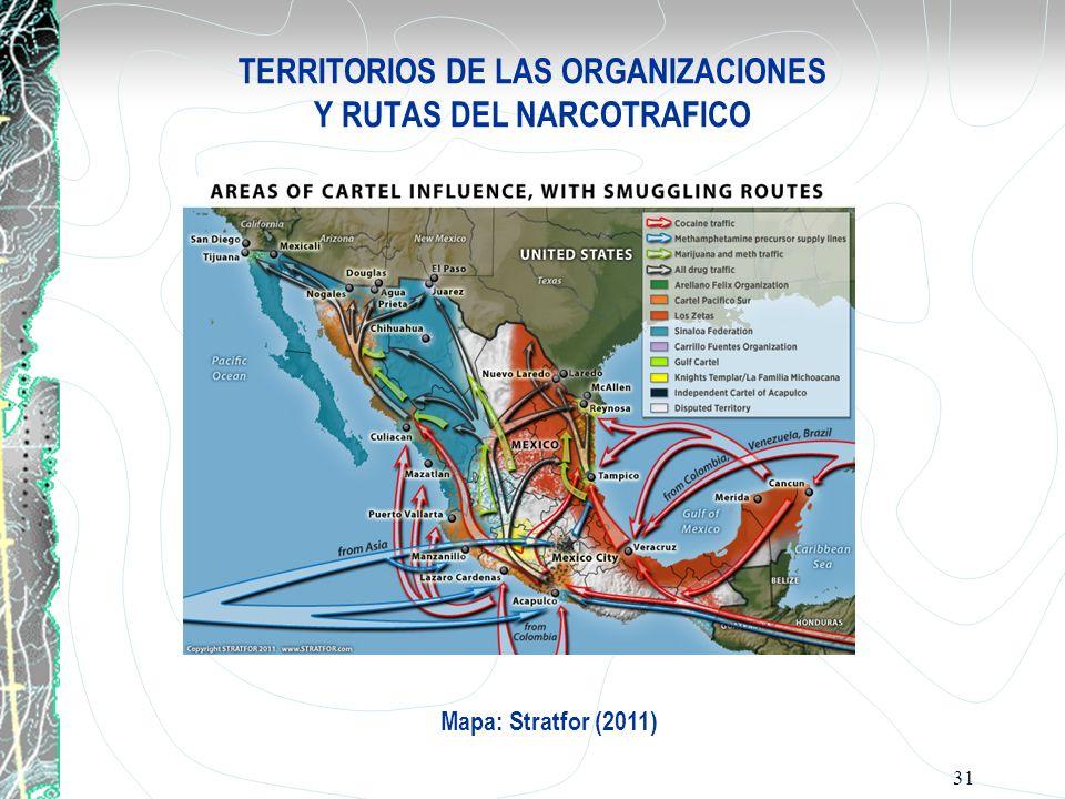 TERRITORIOS DE LAS ORGANIZACIONES Y RUTAS DEL NARCOTRAFICO