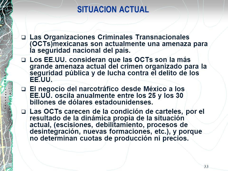 SITUACION ACTUAL Las Organizaciones Criminales Transnacionales (OCTs)mexicanas son actualmente una amenaza para la seguridad nacional del país.