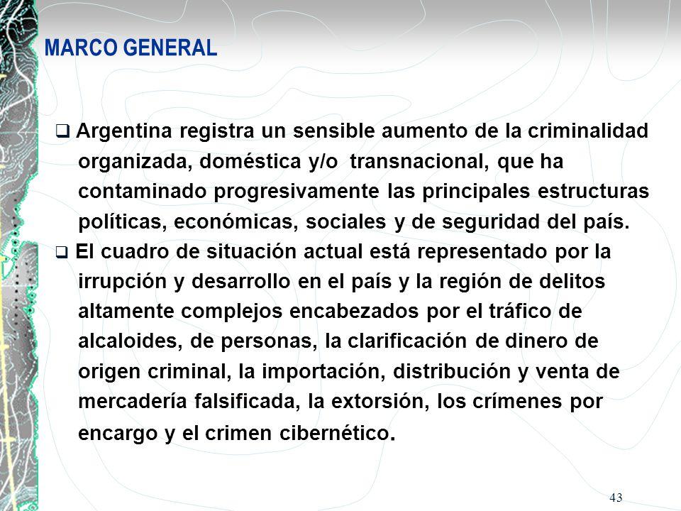 MARCO GENERAL Argentina registra un sensible aumento de la criminalidad. organizada, doméstica y/o transnacional, que ha.
