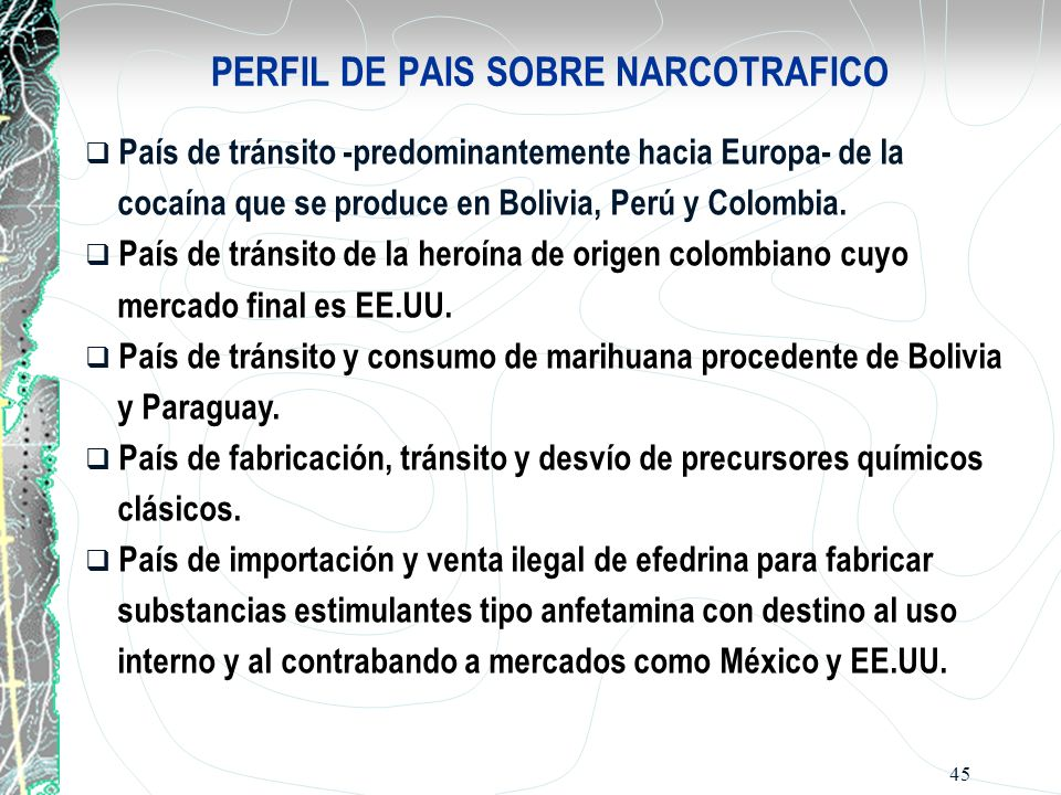 PERFIL DE PAIS SOBRE NARCOTRAFICO
