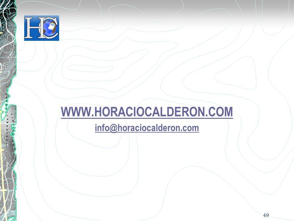 WWW.HORACIOCALDERON.COM info@horaciocalderon.com