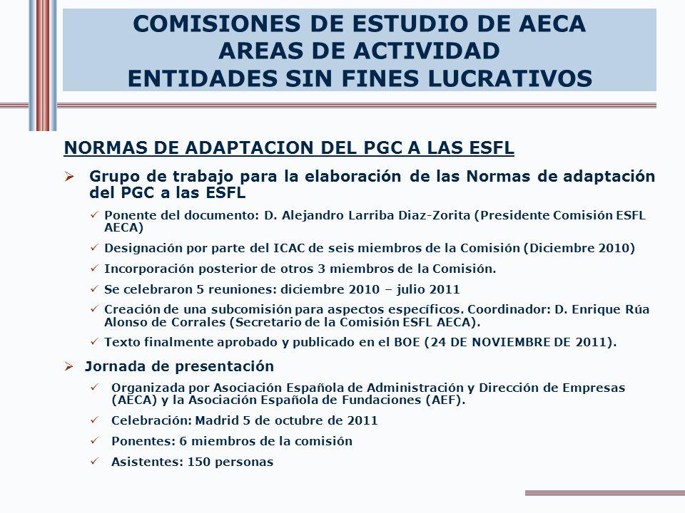 COMISIONES DE ESTUDIO DE AECA AREAS DE ACTIVIDAD ENTIDADES SIN FINES LUCRATIVOS