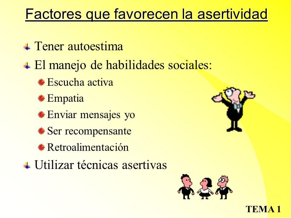 Factores que favorecen la asertividad