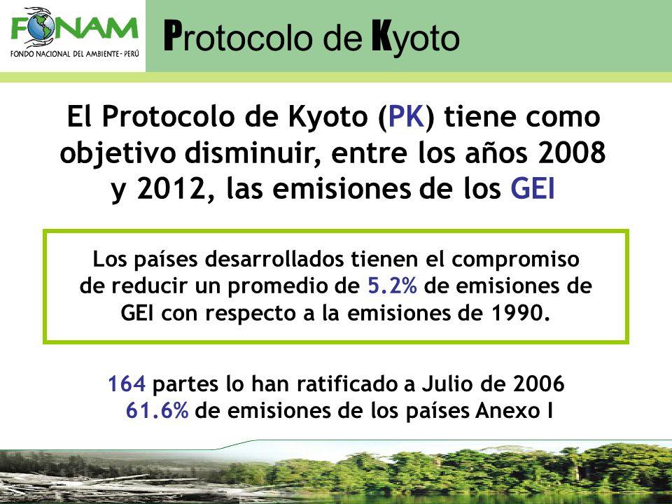 Protocolo de Kyoto El Protocolo de Kyoto (PK) tiene como objetivo disminuir, entre los años 2008 y 2012, las emisiones de los GEI.