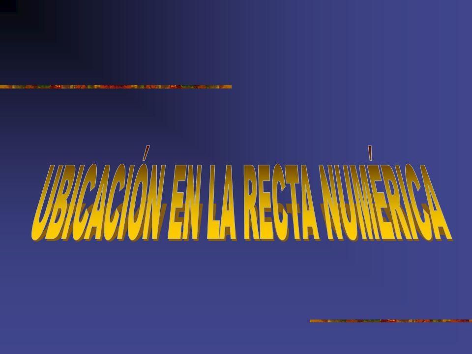 UBICACIÓN EN LA RECTA NUMÉRICA