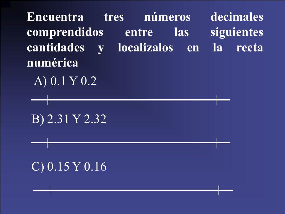 Encuentra tres números decimales comprendidos entre las siguientes cantidades y localizalos en la recta numérica