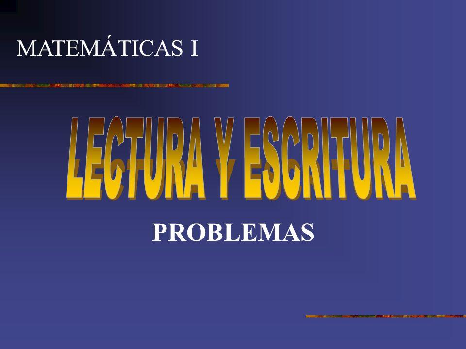 MATEMÁTICAS I LECTURA Y ESCRITURA PROBLEMAS
