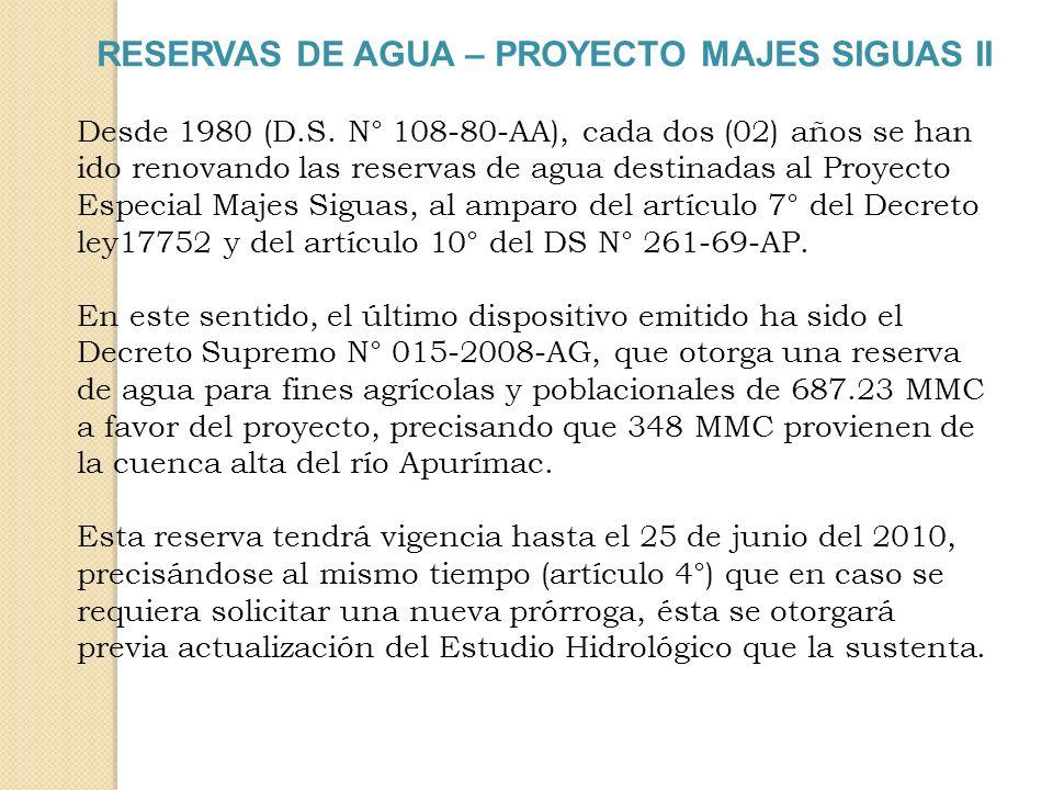 RESERVAS DE AGUA – PROYECTO MAJES SIGUAS II