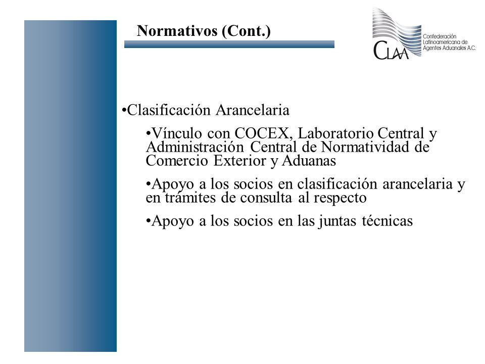 Normativos (Cont.) Clasificación Arancelaria.